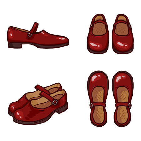 Vector Set of Cartoon Red Leather Women Clasp Shoes
