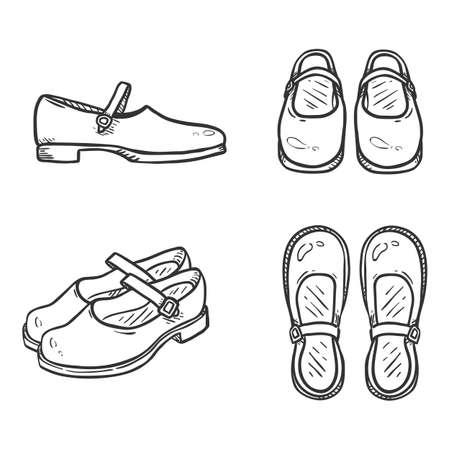 Vector Set of Sketch Leather Women Clasp Shoes. Female School Uniform Footwear