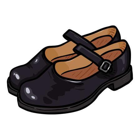 Women Clasp Shoes of Black Leather. Cartoon Illustration of Female School Uniform Footwear Vectores