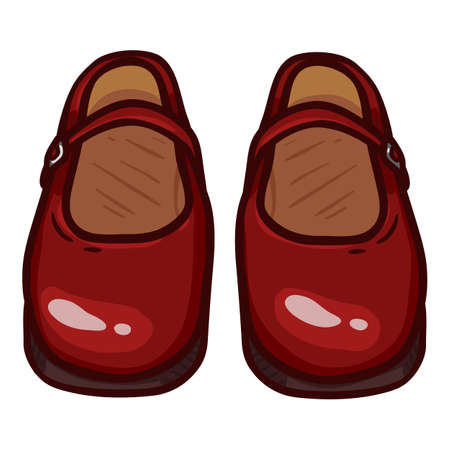 Women Clasp Shoes of Red Leather. Cartoon Illustration of Vintage Female Footwear Vectores