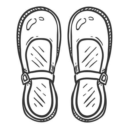 Women Clasp Shoes. Sketch Illustration of Female School Uniform Footwear Vectores