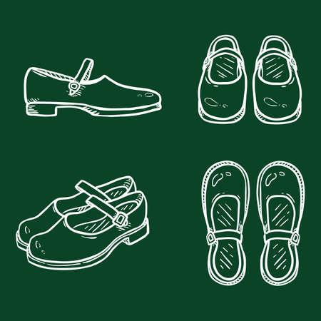 Vector Set of Chalk Sketch Leather Women Clasp Shoes. Female School Uniform Footwear