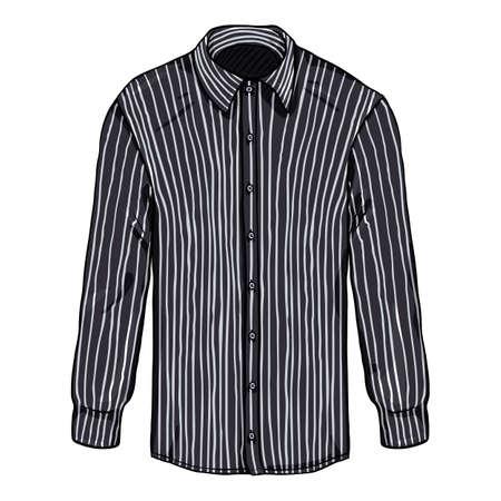 Vector Cartoon Long Sleeve Black and White Striped Classic Men Shirt