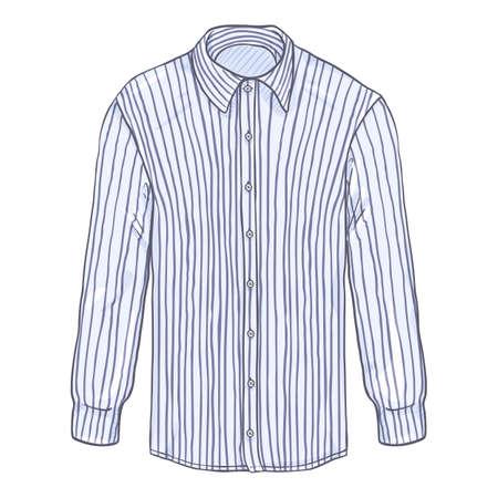 Vector Cartoon Long Sleeve Purple and White Striped Classic Men Shirt