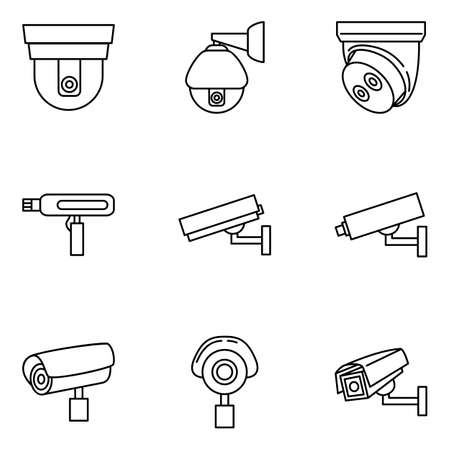 Set of CCTV Icons. Vector Video Surveillance Outline Icons Vectores