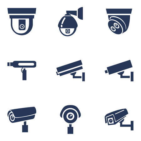 Set of CCTV Icons. Vector Video Surveillance Silhouette Icons