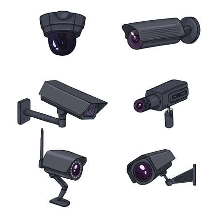 Set of CCTV Illustrations. Cartoon Black Security Cameras. Video Surveillance Equipment.