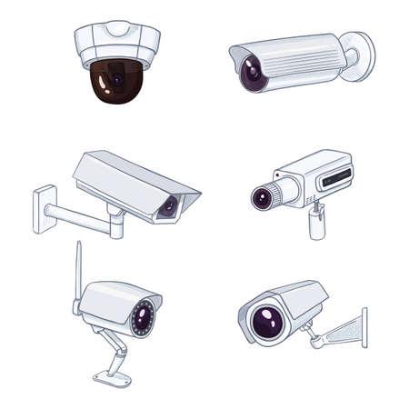 Set of CCTV Illustrations. Cartoon White Security Cameras. Video Surveillance Equipment. Vectores