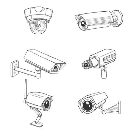 Set of CCTV Illustrations. Sketch Security Cameras. Video Surveillance Equipment.