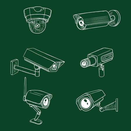 Set of CCTV Illustrations. Chalk Sketch Security Cameras. Video Surveillance Equipment.