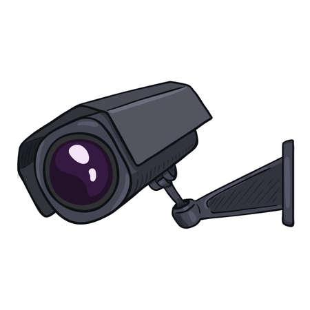 CCTV Illustration. Vector Cartoon Black Security Camera