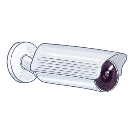 CCTV Illustration. Vector Cartoon White Security Camera