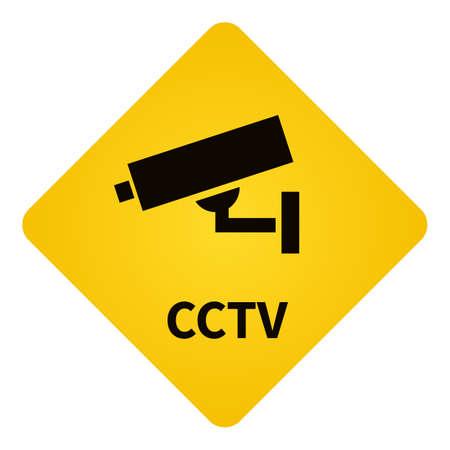 CCTV. Warning Yellow Diamond Shaped Sign. Video Surveillance Notification. Vectores