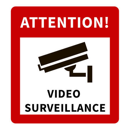 CCTV Warning Red Sign with Security Camera Icon and Text - Attention, Video Surveillance.