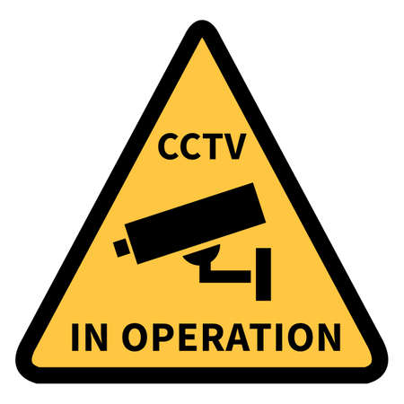... Security Camera Icon with Text - CCTV in Operation. Warning Triangle Yellow Sign of Video Surveillance Notification.