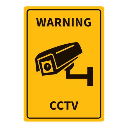 CCTV Warning Yellow Rectangle Sign. Video Surveillance Notification. Vectores