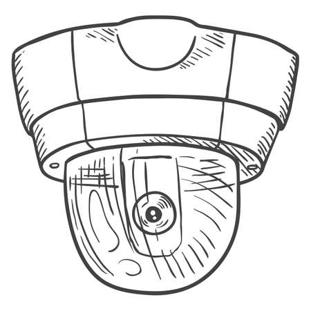 Vector Sketch Security Camera. CCTV Hand Drawn Illustration.