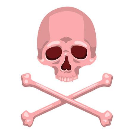 Vector Pink Skull and Cross Bones Illustration on Isolated White Background