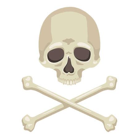 Vector Skull and Cross Bones Flat Illustration on Isolated White Background