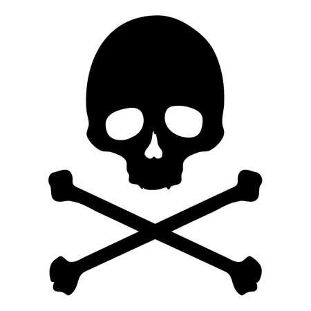 Vector Skull and Cross Bones Silhouette Illustration on Isolated White Background Vektorgrafik