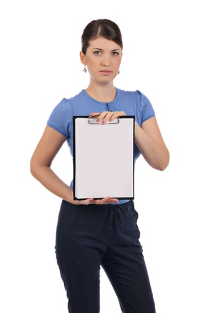 A young businesswoman with a clipboard Stock Photo - 17005629