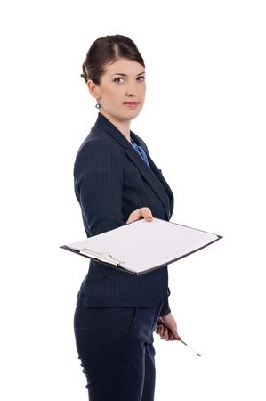 A young businesswoman with a clipboard