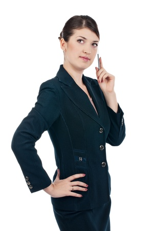 Young businesswoman with a pen