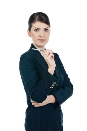 Businesswoman with a pen Stock Photo