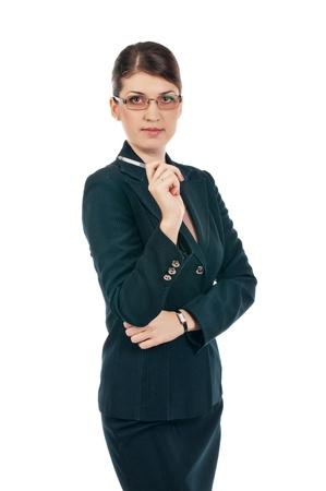 Businesswoman with a pen Stock Photo - 17015975