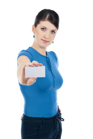businesscard: Businesswoman with a businesscard Stock Photo