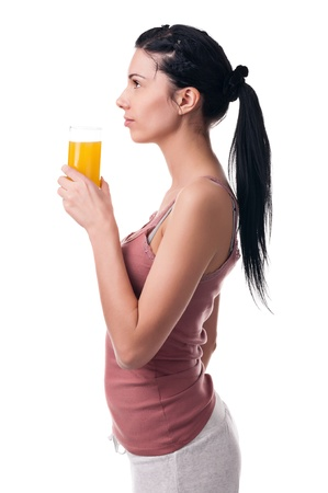 Young woman with juice Stock Photo