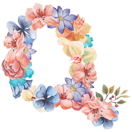 ideograph: Letter Q of watercolor flowers, isolated hand drawn on a white background, wedding design, english alphabet