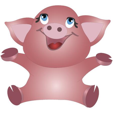 Little funny piggy, cartoon vector illustration isolated on white background. Illustration