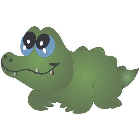 Little funny crocodile, cartoon vector illustration isolated on white background.