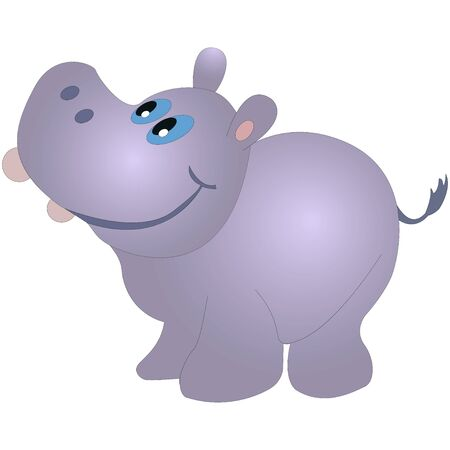 animal idiot: Little funny hippopotamus, cartoon vector illustration isolated on white background.