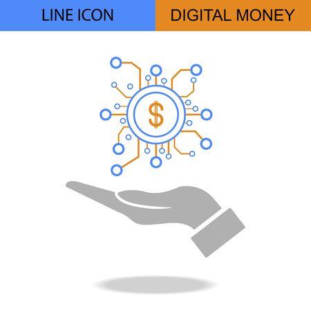 Exclusive Digital Money Line vector icon