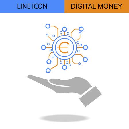 Exclusive Digital Money Flat Line vector icon