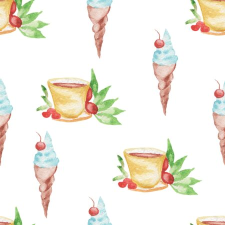 cocking: Watercolor pattern Ice cream and coffee seamless design on white background