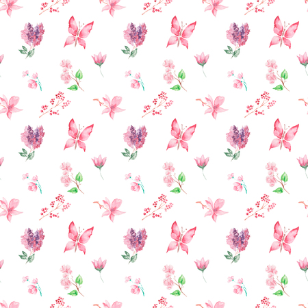 butterfly background: Watercolor pattern Butterflies, flowers and fruits seamless design on white background.