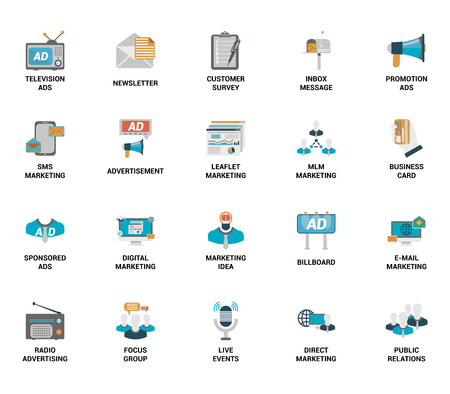 Vector set of marketing and advertising spot flat web icons. Illustration