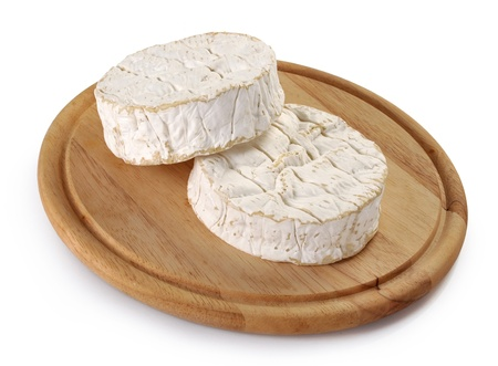 camembert: Camembert cheese on a wooden board Stock Photo