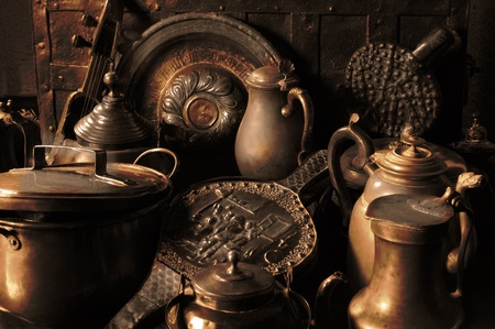 bygone: antique copper utensils Stock Photo