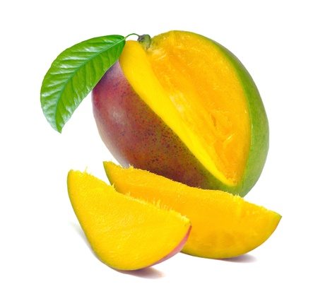 Mango with section on a white background 免版税图像