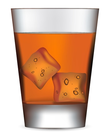 Glass of scotch whiskey and ice on white Vector