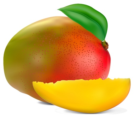 mango slice: fresh mango fruit with cut and green leafs vector