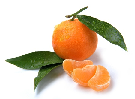 clementines with segments with drop on a white background