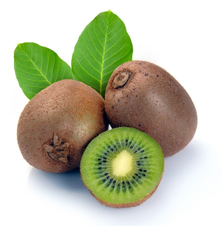 exotic fruits: ripe kiwi and segment on a white background Stock Photo