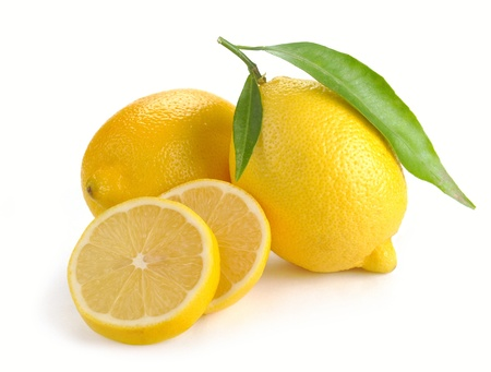 fresh lemons on a white background