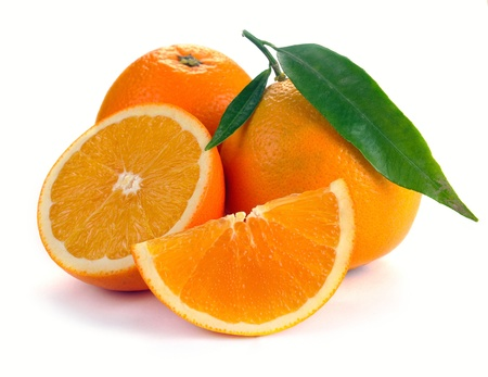Orange with segments on a white background