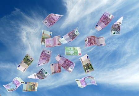 european currency shot as if flying away photo